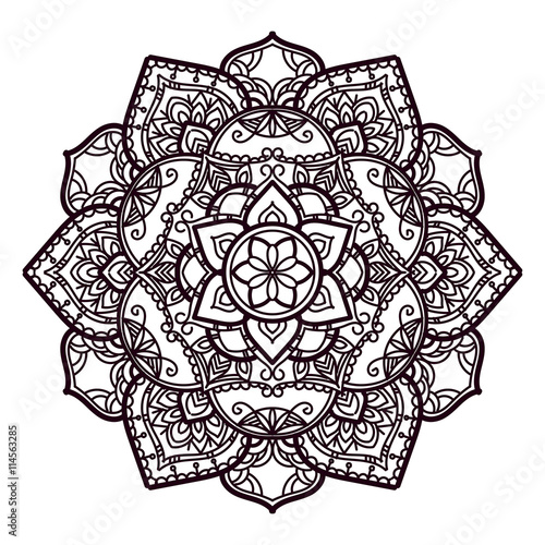 Mandala Hand Drawn Vector Illustration For Coloring Pages Stock