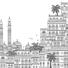 Hand drawn black and white illustration of Sana'a in Yemen, beautiful arabesque houses and mosque