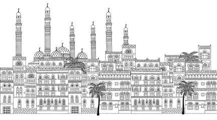 Yemen - Seamless banner of Sanaa's skyline, hand drawn black and white illustration with arabesque houses and mosque