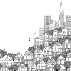 San Francisco, USA - hand drawn black and white illustration with space for text