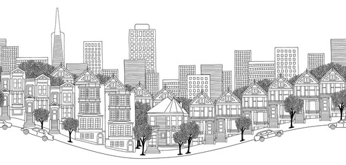 San Francisco, USA - seamless banner of San Francisco's skyline, hand drawn black and white illustration