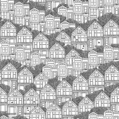Hand drawn seamless pattern of Victorian style houses in San Francisco