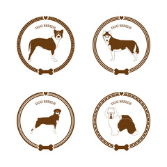 Set of dog breed stickers