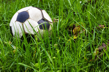 Football old grass dew.