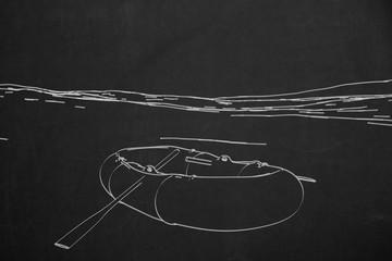 Gestrandetes Schlauchboot mit Paddel und dem Meer in Hintergrund. Gezeichnet in weiss auf schwarz.
