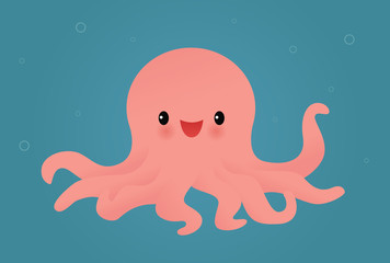Happy pink octopus
