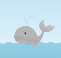 Cute smiling whale in the water