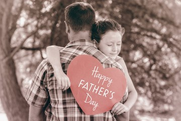 Father and daughter with Happy fathers day