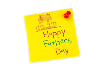 Composite image of word happy fathers day and drawn pink house