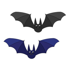 Two cute cartoon bats. A bat with big eyes and fangs. Funny smiling bats.