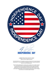 Independence Day design. 4th of July. Round logo and greeting inscription - Happy Independence Day. Vector illustration on a white background