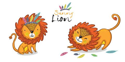 Sunny lion set. King of the jungle. Animal vector illustration