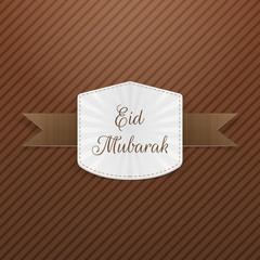 Eid Mubarak paper Emblem with Ribbon