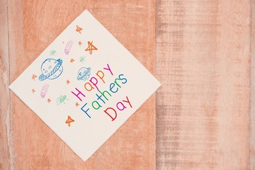 Composite image of word happy fathers day and space drawn