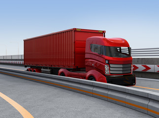 Red container truck on the highway. 3D rendering image.