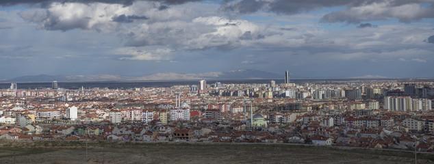 dark clouds over the city, panorama, Konya, Turkey
