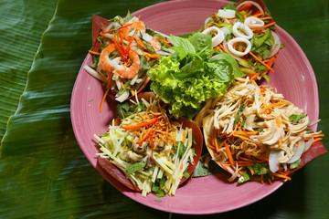 Vietnamese special salad of sliced chicken, lotus, squid, pork and shrimp