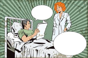 Nurse near a patient man.