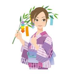 がんばるオンナノコ 浴衣+七夕
