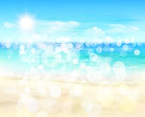 View on sunny beach. Vector Illustration.