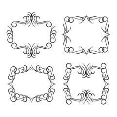 Vintage border design elements, black on white background. Vector