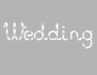 vector illustration white openwork inscription word wedding