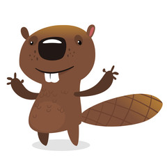 Cute cartoon vector beaver waving with his hands. Fluffy beaver character with big teeth presenting. Brown beaver mascot