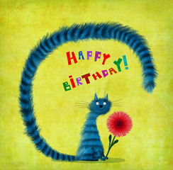 Birthday Card Striped Sitting Cat With Flower