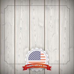 Emblem Ribbon USA Flag Independence Day Wood