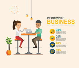 infographic Business meeting. Shared working environment set 2