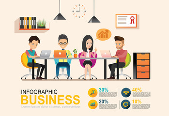 infographic Business meeting. Shared working environment