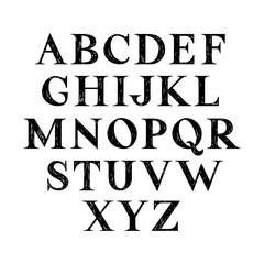 Hand drawn serif font.Vector.