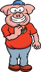 Fat Pig Eating Burger Cartoon