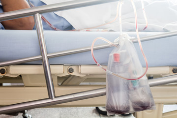 Patient's show blood transfusion in hostpital