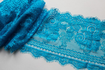 Foto op Canvas Kristallen blue lace lying