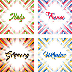 Abstract geometric backgrounds in national colors