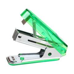 green stapler isolated on white