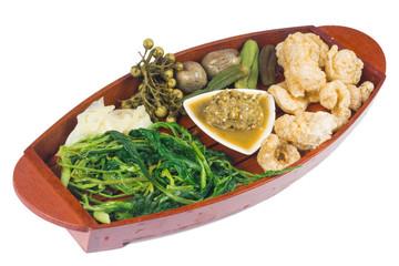 Thai cuisine nam prik or chili paste with various vegetables(nam prik num)