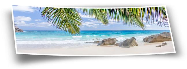 panorama plage des Seychelles en photo extra-large
