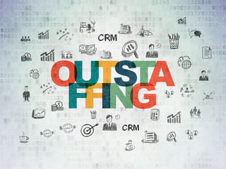 Finance concept: Outstaffing on Digital Data Paper background