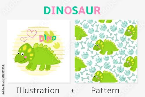 Dinosaur vector seamless pattern and illustration