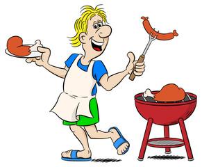 Mann beim Grillen mit Schürze und Fleisch (BBQ)