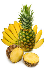 Isolated image of banana and pineapple close-up