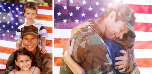 Composite image of american soldier reunited with his partner