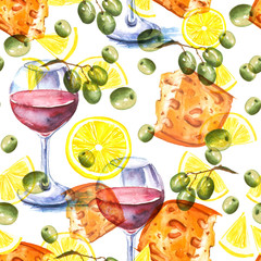 Vintage, watercolor pattern - illustration piece of cheese, 