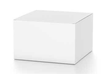 White horizontal rectangle blank box from top side far angle.
