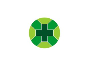 Vector illustration of pharmacy cross icon on white background of green