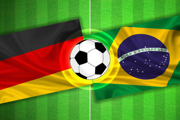 Germany - Brazil - Soccer field with ball