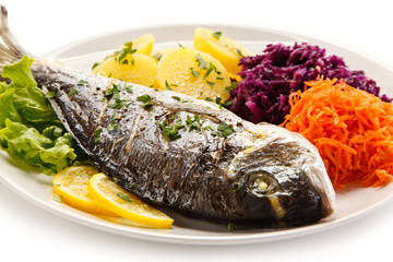 Fish dish - roasted dorada and vegetables