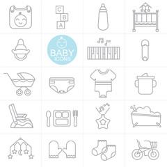 Vector Line baby used icon set design